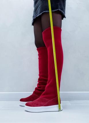 Акция чоботи замшеві р35-41 панчохи ботфорти демі зима сапоги замшевые чулки ботфорты ботинки4 фото