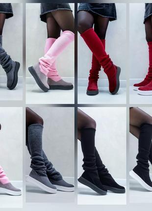 Акция чоботи замшеві р35-41 панчохи ботфорти демі зима сапоги замшевые чулки ботфорты ботинки8 фото