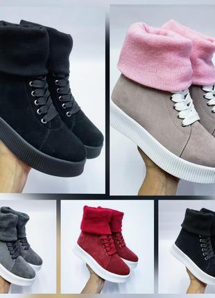 Акция чоботи замшеві р35-41 панчохи ботфорти демі зима сапоги замшевые чулки ботфорты ботинки9 фото