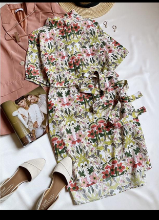 Платье миди, платье рубашка яркий принт
