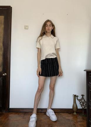 Полосатая мини юбка. короткая чёрная юбка в стиле школьницы urban outfitters8 фото