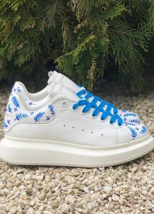 Кастомні кеди синій ліс alexander mcqueen oversized white/blue leaf