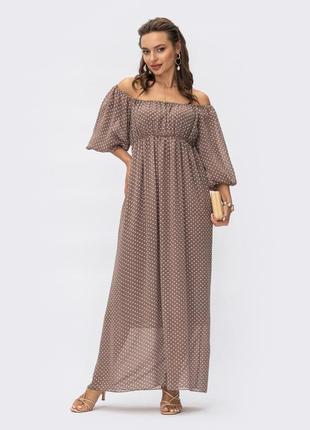 Разные цвета! шикарное романтичное платье в горошек макси длинное вечернее из шифона с открытыми плечами