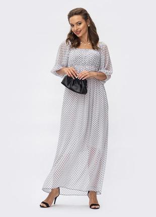 Разные цвета! элегантное легкое шифоновое платье макси длинное в горох горошек белое с открытыми плечами рукавом фонарик
