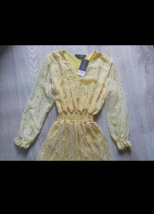 Шифоновое платье с длинным рукавом, шифоновое платье в цветочный принт с рюшей, сарафан, сукня, платья, плаття2 фото