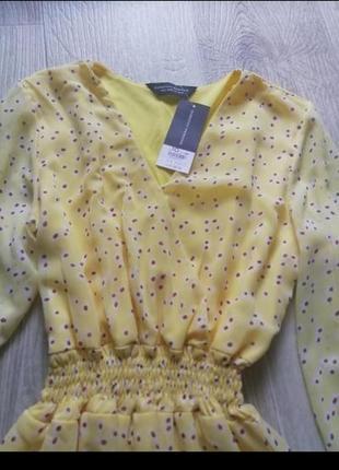 Шифоновое платье с длинным рукавом, шифоновое платье в цветочный принт с рюшей, сарафан, сукня, платья, плаття3 фото
