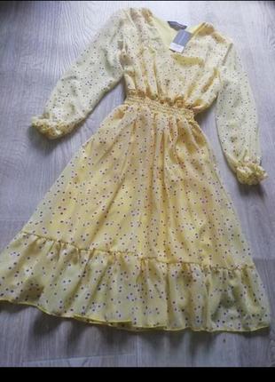 Шифоновое платье с длинным рукавом, шифоновое платье в цветочный принт с рюшей, сарафан, сукня, платья, плаття4 фото