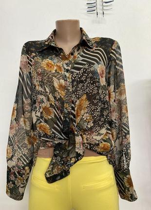 Блузка в цветочный принт от zara2 фото