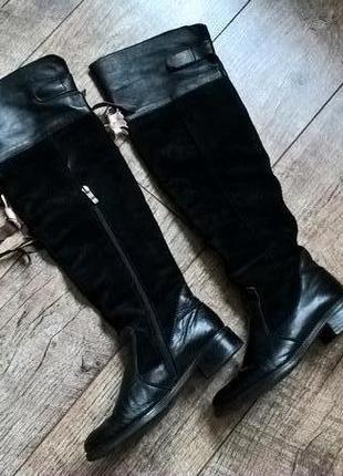 Сапоги - ботфорты зимние (европейка) черные кожа + замш 38р