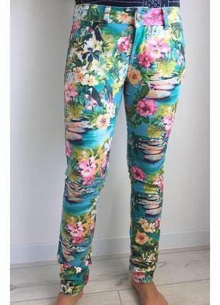 Брюки, штани, разноцветные брюки от amisu, цікаві штани, оригінальні, бірюзові.