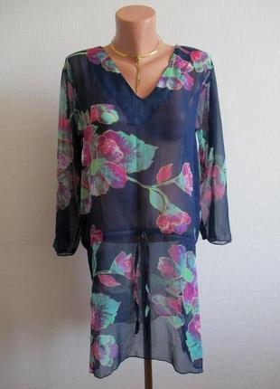Шифоновое пляжное платье-туника в цветочный принт