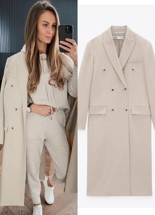 Бежевое двубортное пальто из лимитированной коллекции zara🔥