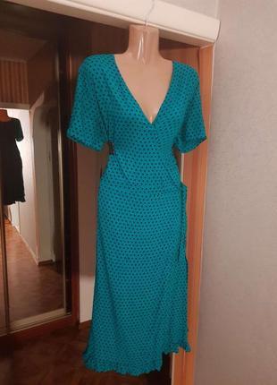 Распродажа платье new look миди на запах горох горошек с asos