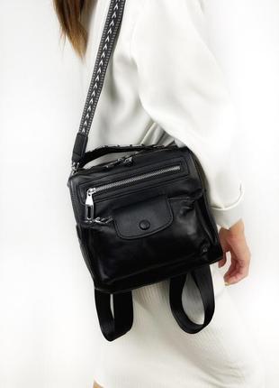 Рюкзак женский, кожаный, карман впереди рolina&еiterou черный