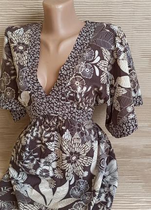 Сукня міні туніка висока талія хб бавовна лкгкое платье с высокой талией на поясе