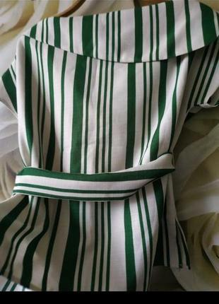 Красивая блуза с поясом в полоску4 фото