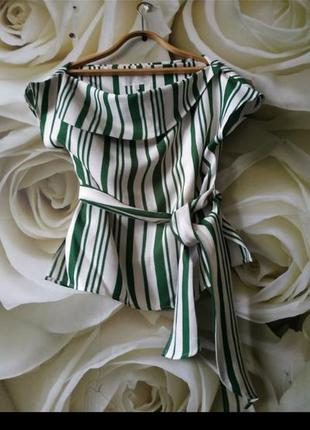 Красивая блуза с поясом в полоску2 фото