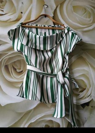 Красивая блуза с поясом в полоску1 фото