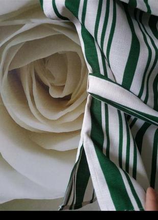 Красивая блуза с поясом в полоску5 фото