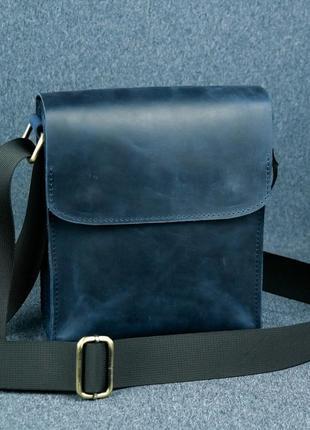 Мужская сумка на 2 отдела из натуральной кожи синяя crazy horse