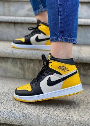 Женские кроссовки nike jordan yellow toe найк джордан жіночі кросівки