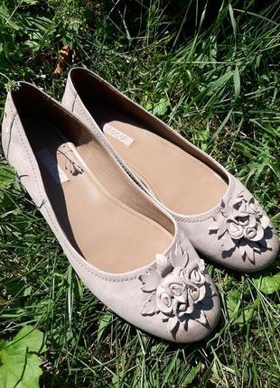 Ecco кожаные туфли лодочки балетки с цветком