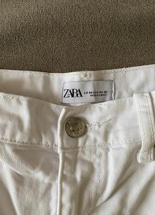 Zara прямые белые джинсы