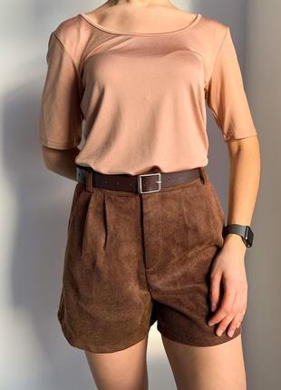 Шорти коричневі, теплые шортики, демисезонные шорты.