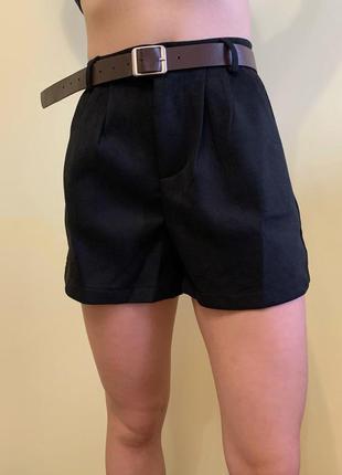 Шорти чорні жіночі трендові теплые шортики, демисезонные шорты.