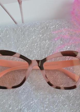 Розовые леопардовые  пудровые очки солнцезащитные окуляри
