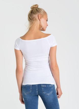 Белоснежная футболочка с вырезом лодочка terranova xl