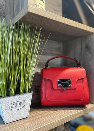 Сумочка маленькая натуральная кожа чемоданчик красная vera pelle италияgenuine leather малиновая через плечо бордо