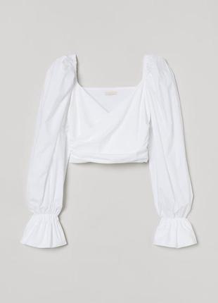 Белоснежная блуза топ на запах с пышными рукавами h&m p m