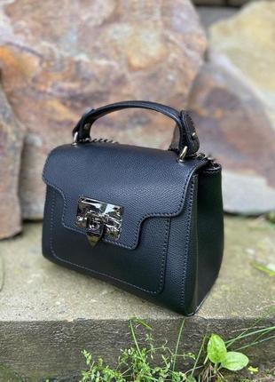 Сумочка маленькая натуральная кожа чемоданчик красная vera pelle  италия genuine leather через плечо кроссбоди на цепочке