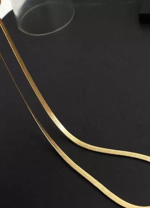 Ожерелье-чокер flashbuy, колье золотистого цвета с металлической плоской цепочкой в елочку3 фото