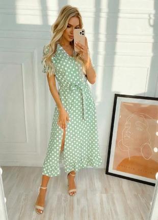 Платье в горошек на запах1 фото