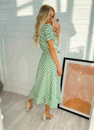 Платье в горошек на запах2 фото