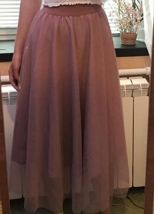 Фатиновая юбка фатин пудра пыльная роза2 фото