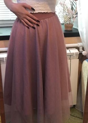 Фатиновая юбка фатин пудра пыльная роза3 фото