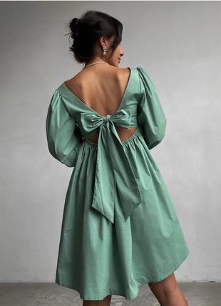 Платье женское летнее свободное оверсайз короткое мини зеленое нарядное