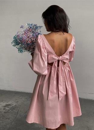 Платье женское летнее свободное оверсайз короткое мини розовое