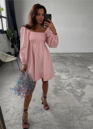 Платье женское летнее свободное оверсайз короткое мини розовое2 фото