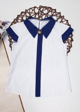 Блуза блузка белая с синим воротником