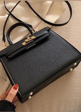 Чёрная сумка, сумочка в стиле hermes, kelly
