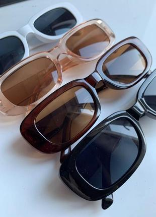 Очки солнцезащитные блакитні голубые шампань коричневые квадратные прямоугольные прямокутні окуляри сонцезахисні