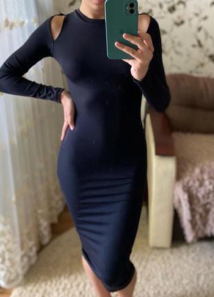 Новое чёрное платье миди в обтяжку от zara