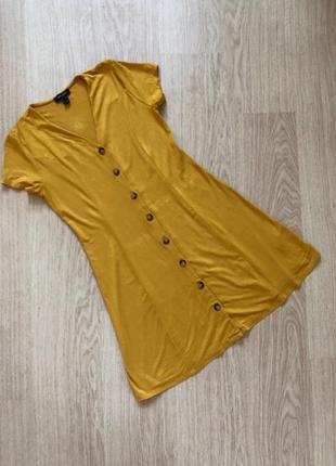 Горчичное стильное летнее платье new look  размер 10 (с-м)