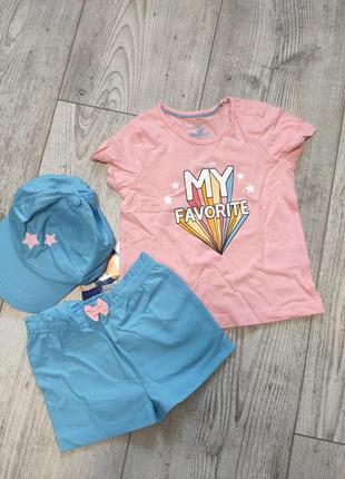 Комплект костюм футболка шорты кепка lupilu 86/92 (большемерит до 98)