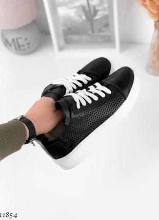 Распродажа🔥🔥🔥 шикарные черные кеды кроссовки перфорация кожа