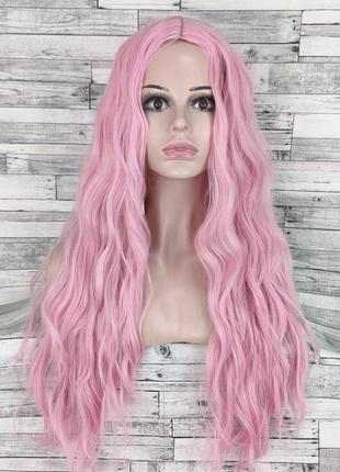 3407 парик с пробором волнистый розовый 70см